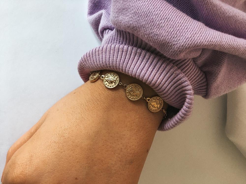 BRANSOLETKA MONETY GOLD STAL